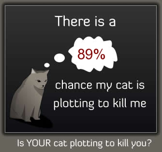 There is an 89% chance my cat is plotting to kill me.